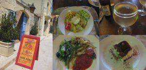 ゴゾ島のレストランで昼食