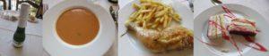 スペインのレストランで昼食